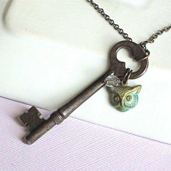 Antique Skeleton Key Necklace - Owl Jewelry, Crystal, Verdigris Brass