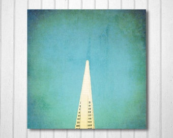 BUY 2 GET 1 FREE San Francisco Photography, California Photo, Landscape Photography, Wall Decor, Pop, Blue, Transamerica, White - At The Tip