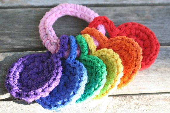 handheld rainbow, crocheted t-shirt yarn key ring toy for baby by yourmomdesigns(rts)