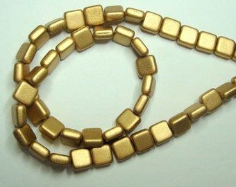 Matte Metallic Gold 5mm square Czech Glass Beads 50 beads