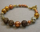 Vintage Japanese Copper Ornate Bead Bracelet, Gold bead ,Silver beads