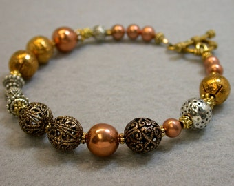 Vintage Japanese Bead Bracelet,Copper Beads, Gold beads ,Silver beads