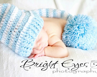 Photo Prop Newborn Baby Elf Hat in Blue and White
