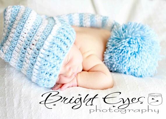 Photo Prop Newborn Baby Elf Hat in Blue and White