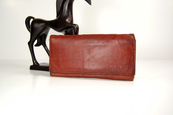 reserved......for JulieL 1970s distressed leather GUCCI name wallet