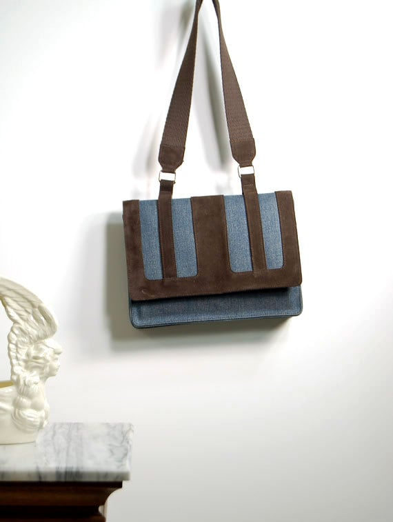 reserved for   bcashin   Geometric United Colors of Benetton Structured Tote  / Suede and denim color block /  dead stock