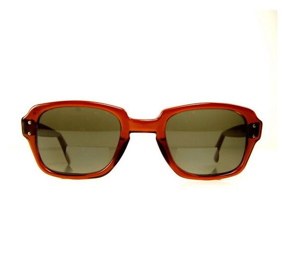 1960s military mod mad g-man glasses sunglasses / squared thick brown horn rim unisex