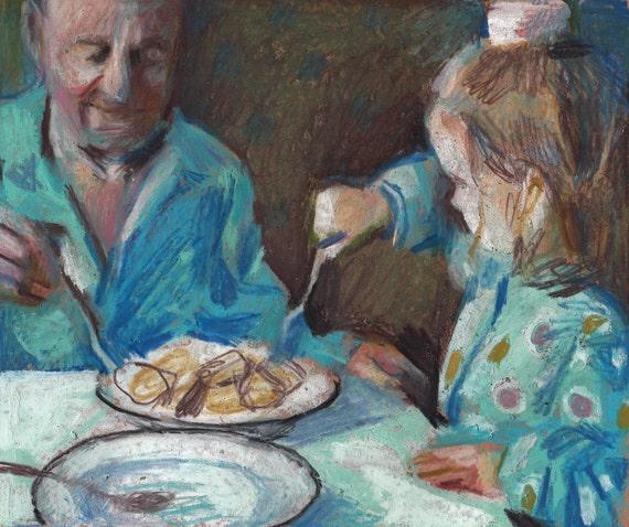 Memories with Grandpa / Original pastel drawing /  Folk art drawing