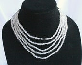 5 Strand Austrian Crystal Necklace Vintage Multi Strand Bib Clear Faceted Tiny Bicone Beads Wedding Formal