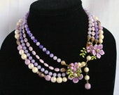 Vintage Purple Multi Strand Necklace Miriam Haskell Style Flowered Clasp Mad Men