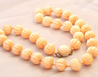 Peach Bead Necklace Vintage Grooved Lightweight Celluloid Type Japan