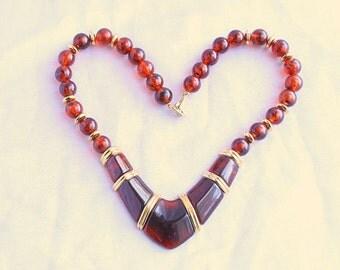 Modernist Brown Gold Choker Necklace Vintage Topaz Brown Lucite Signed Napier