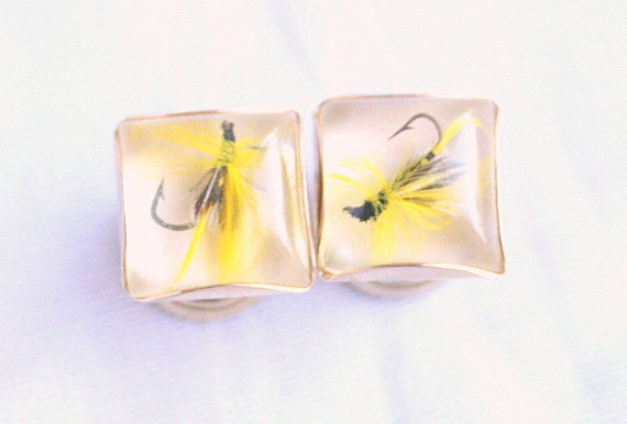 Vintage Fishing Flies Cufflinks Mens Fly Fishing Chain for French Cuffs