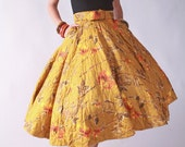 Vintage 1950s Skirt // Warm Golden Mustard Quilted Circle Skirt with Belt
