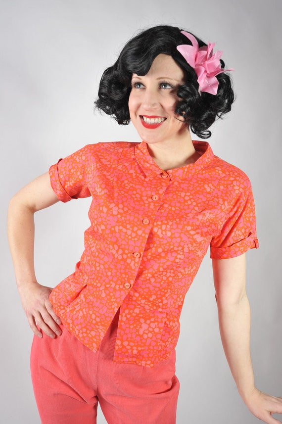 Vintage 1950s Blouse // Bright Orange and Pink Crisp Cotton Blouse