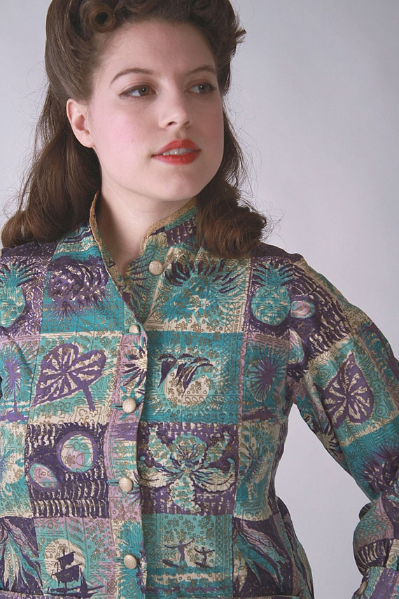 Vintage 1950s Jacket - Late 1950s Hawaiian Print Jacket in Purple, Turquoise and Gold
