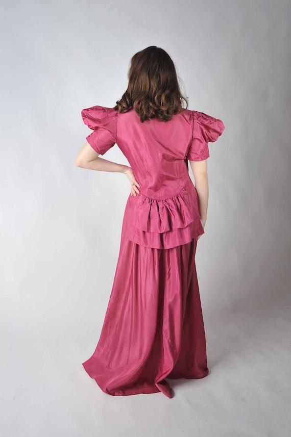 Vintage 1940s Dressing Gown - The Sweet Romance Taffeta Hostess Dress