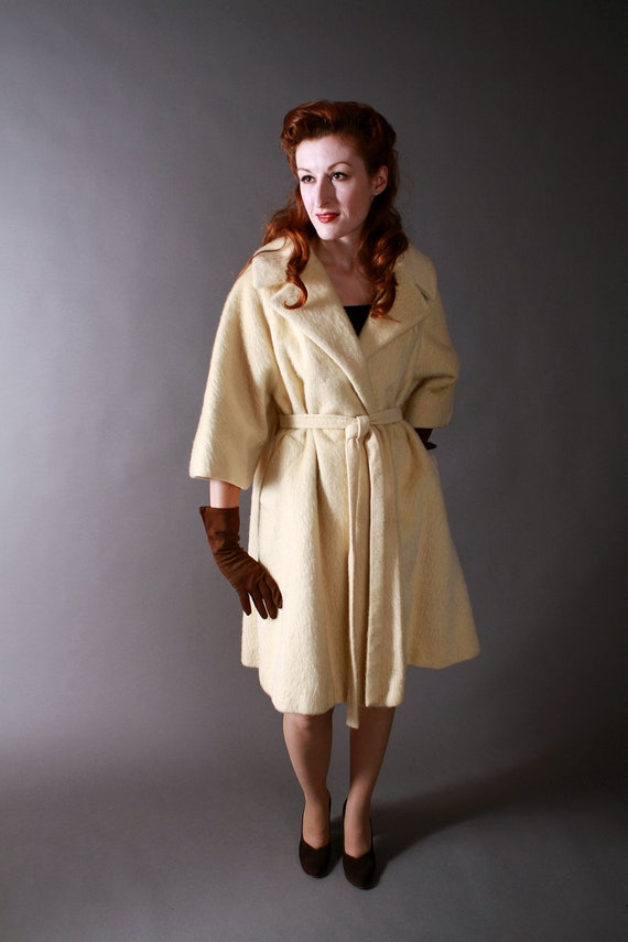 Vintage 1960s Lilli Ann Mohair Coat with Wrap Front and Draped Back