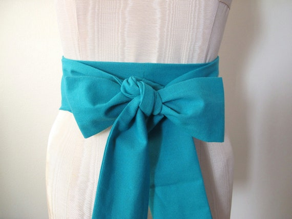 Sea Green Teal Green Obi Sash Belt - longer length - made to order