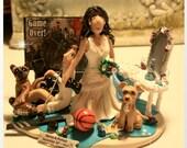 Custom Wedding Cake Topper, Bride Dragging Groom