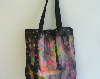 OOAK Black Rainbow Beach Bag