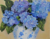 Blue Hydrangeas in Blue and White Vase