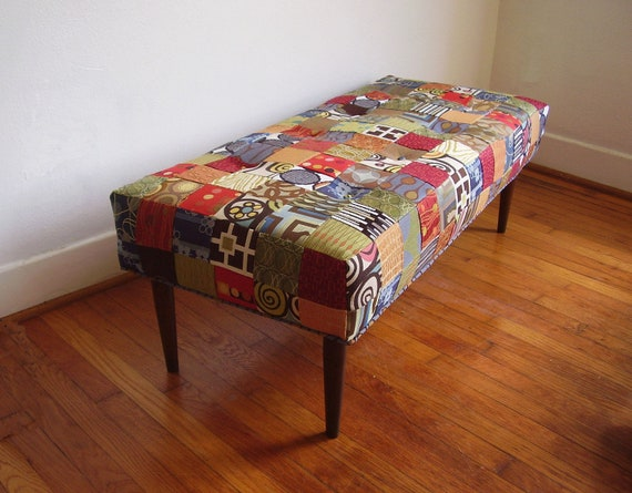 Mid Century Inspired Patchwork Bench