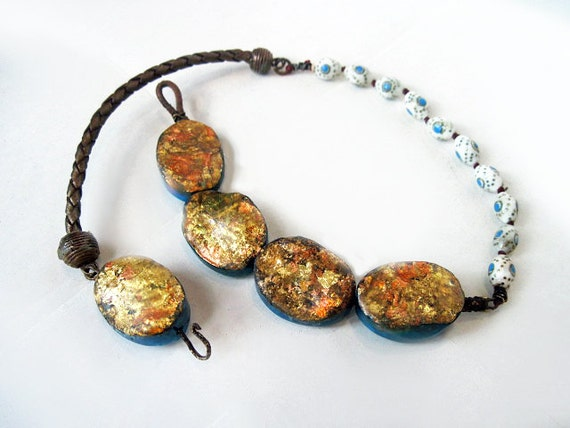 Bringing Forth the Fire. Rustic Tribal Gypsy Choker with Gold Leaf.