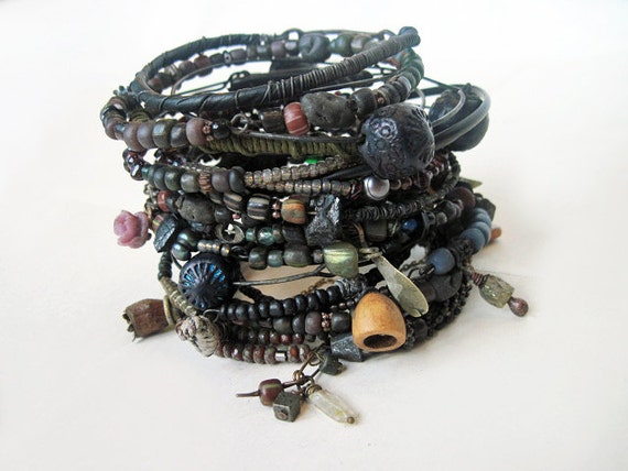 Enigmas That Surround. Tribal Gypsy Assemblage Bangle Stack in Back and Darks.