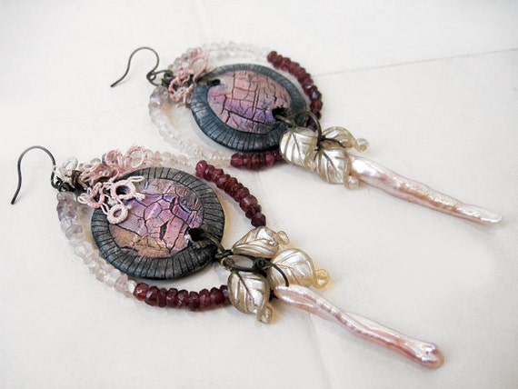 Incantation. Polymer, gemstone and pearl gypsy assemblage dangles earrings.