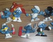 Vintage Smurf Figurines Schleich Peyo Figurines Set of 8