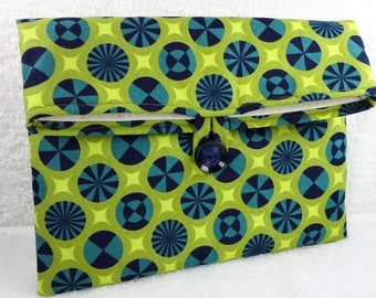 Makeup clutch padded navy green mod circles, fold over small tablet pouch iPad mini ereader case bridesmaids bachelorette gift cotton fabric