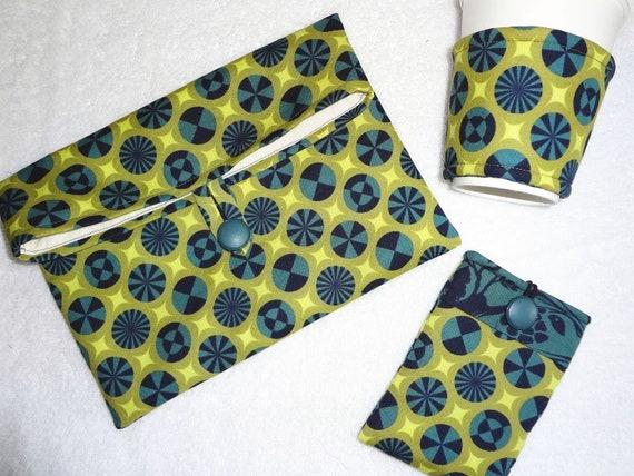 Women gift set 3 pcs, folding clutch / cosmetic makeup bag + cell phone ipod case + cup coffee sleeve, ipad mini pouch PICK FABRICS handmade