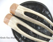Antler Hair Forks Birdseye Maple  Wood Grahtoe Handmade