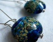 van gogh starry night silver dangle earrings