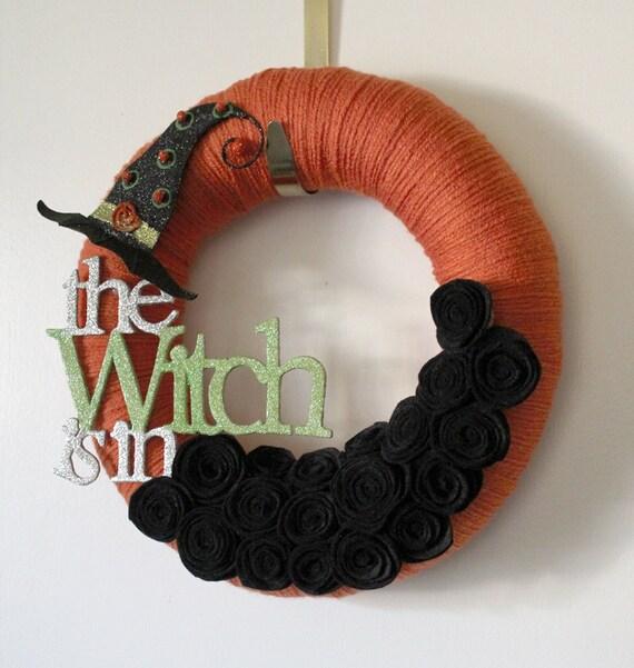 Halloween Wreath, Witch Wreath, Orange and Black Decor, 12 inch Size