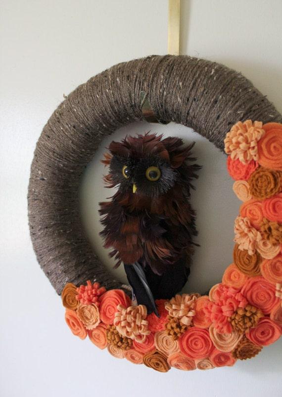 Owl Wreath, Autumn Wreath, Brown and Orange Wreath, Yarn and Felt Wreath - 14 inch size - Ready to Ship