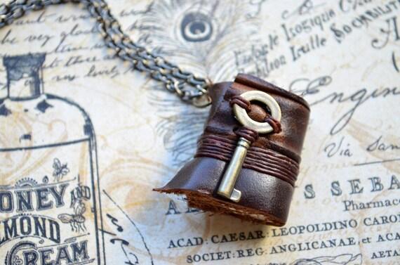 MiniatureBook Necklace Key & Vintage Brown leather