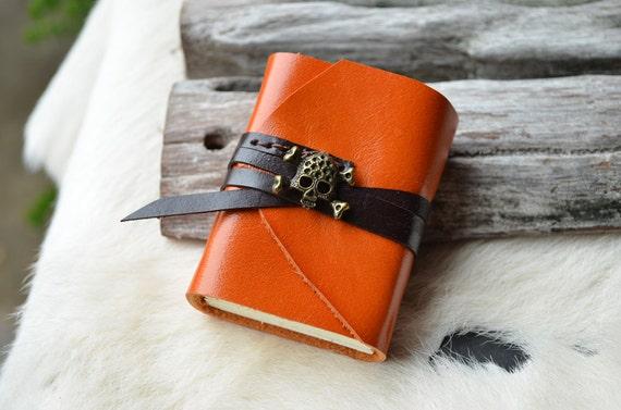 MiniBook A8 Skull and Crossbones. & Vintage Orange leather