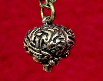 Two for One Sale....Anatomical Brain Pendant in Solid Bronze 149
