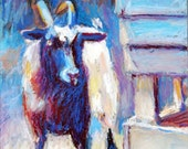 Goat Painting, Folded Notecard, Curious Goat, Blank inside