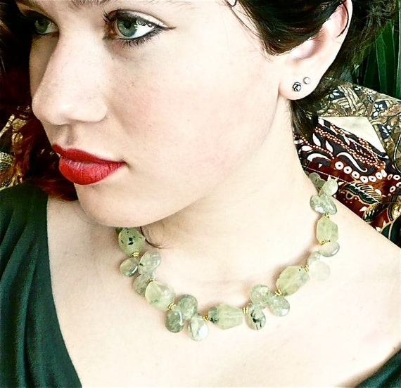 My Sweet Rose -- Tender green choker with faceted prehnite and vermeil