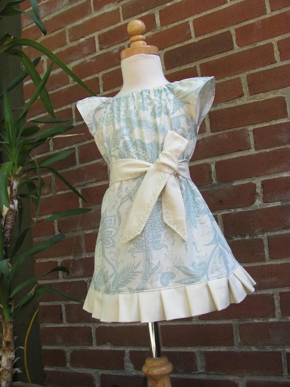 ROWAN - Girls Peasant Dress - Fleur en Bleu - Ready to Ship - Size 2T -SALE