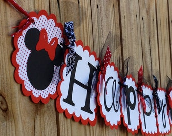Happy Birthday Banner- Minnie Mouse in Classic Red
