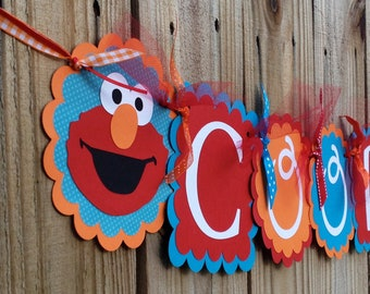 Whimzical Name banner- Turquoise Elmo