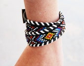 RESERVED Leather Necklace or Bracelet - Beaded Leather Rainbow Chevron Choker or Bracelet