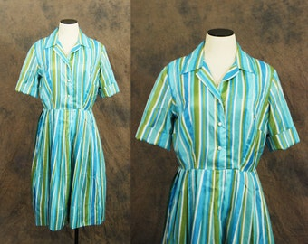 CLEARANCE SALE vintage 60s Dress - 1960s Day Dress - Aqua Blue and Green Stripe Dress Sz M