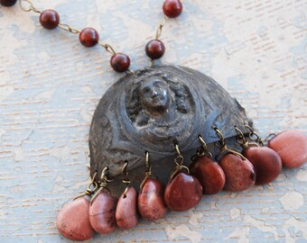 Victorian Lady Necklace - Blushing Woman and Red Jasper - Antique Hardware Collection