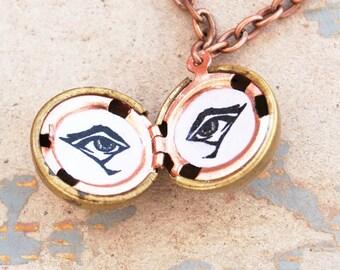 Eye Locket Necklace - Eye Spy Vintage Ball Locket Hand Drawn Eyes Necklace