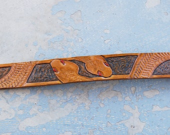 Tooled Leather Belt - Twisting Snakes Tan and Black Dyed Leather - Custom Made to Order